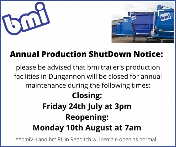 Annual Shutdown notice for our Dungannon site (DUNGANNON SITE ONLY)