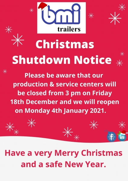 Christmas Shutdown notice