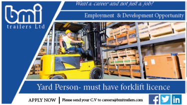 Yard person required at bmi trailers