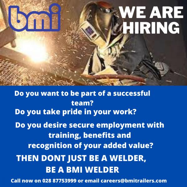 Don't just be a welder,be a bmi welder- bmi hiring now